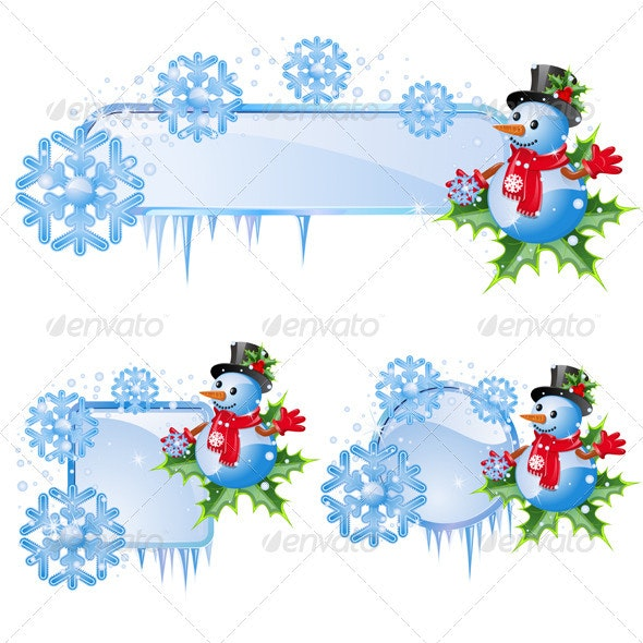 Set from christmas frames - Characters Vectors