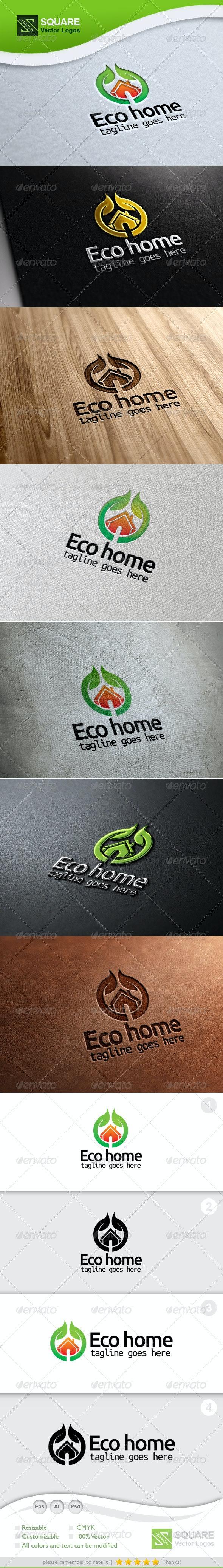 Eco, Home Vector Logo Template