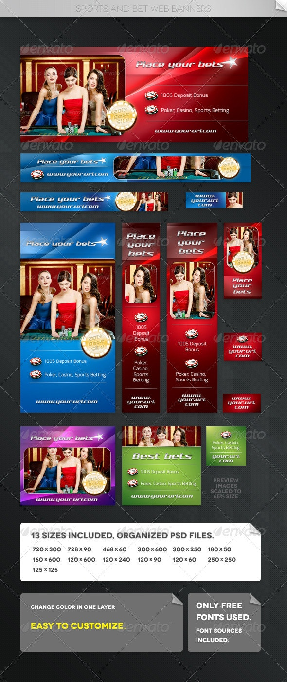 Sports and Bet Web Banners - Banners & Ads Web Elements