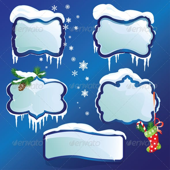 Collection of Glossy Winter Frames with Snowdrifts