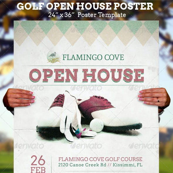 Golf Open House Poster Template