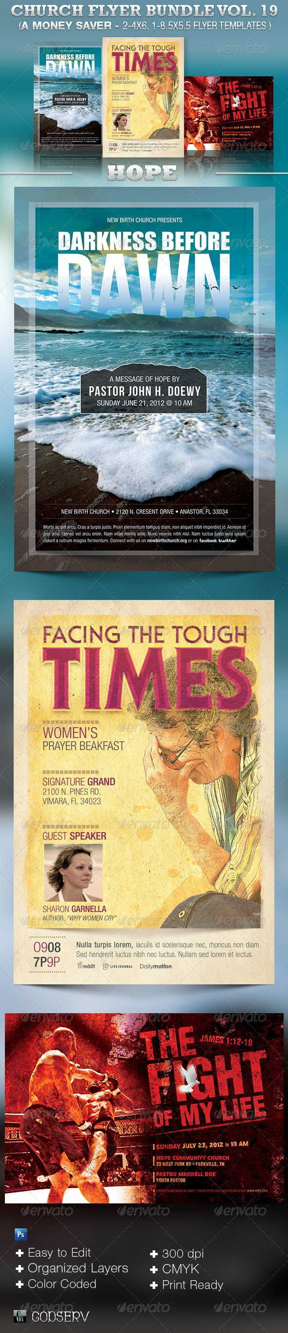 Hope Church Flyer Template Bundle Vol 19 - Church Flyers