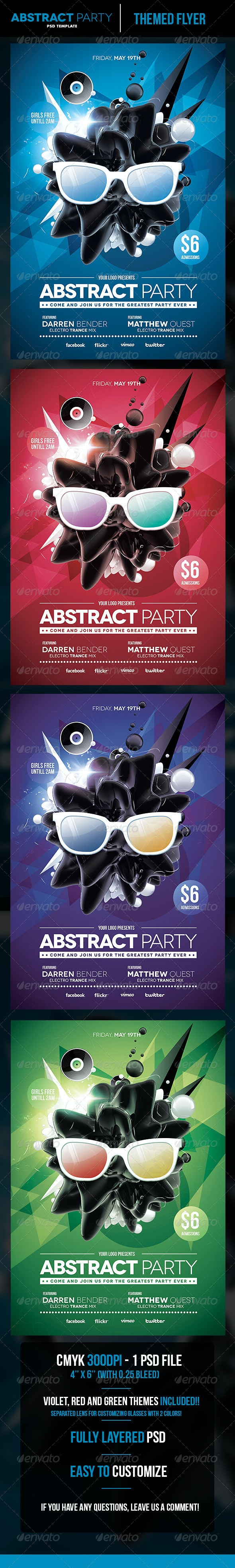 Abstract Party Flyer Template - Flyers Print Templates
