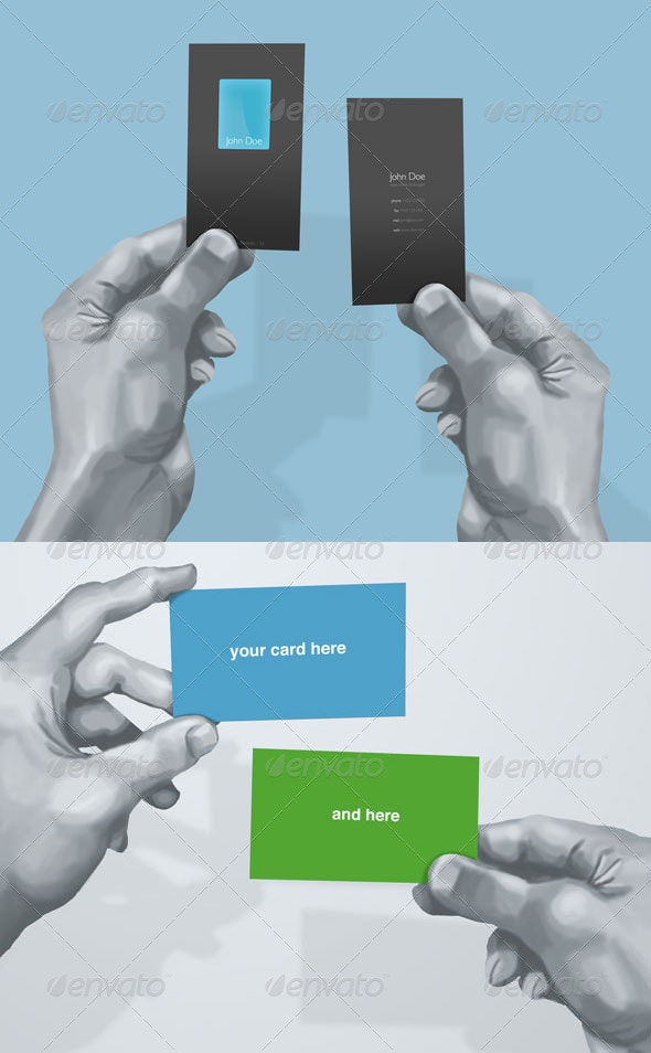 Hand Drawn Business Card Mockup - Business Cards Print