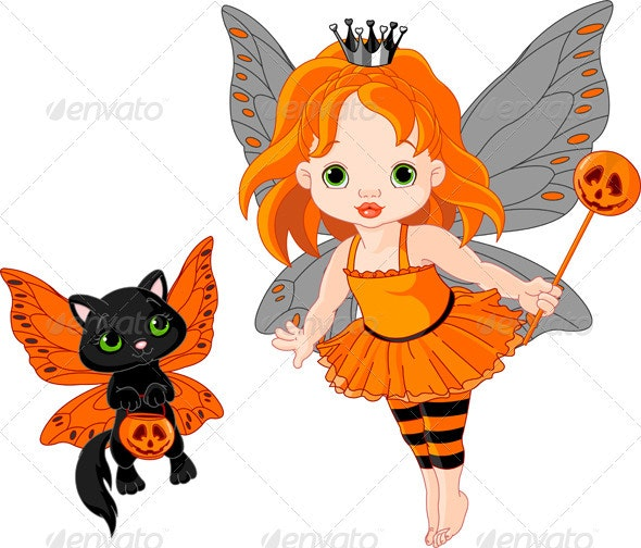 Cute Halloween baby fairy and cat - Halloween Seasons/Holidays