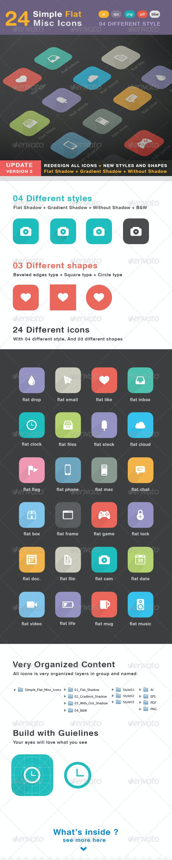 24 Simple Flat - Misc Icons - Web Icons