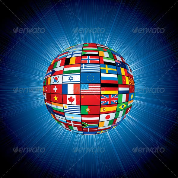 Flags Globe on Abstract Background