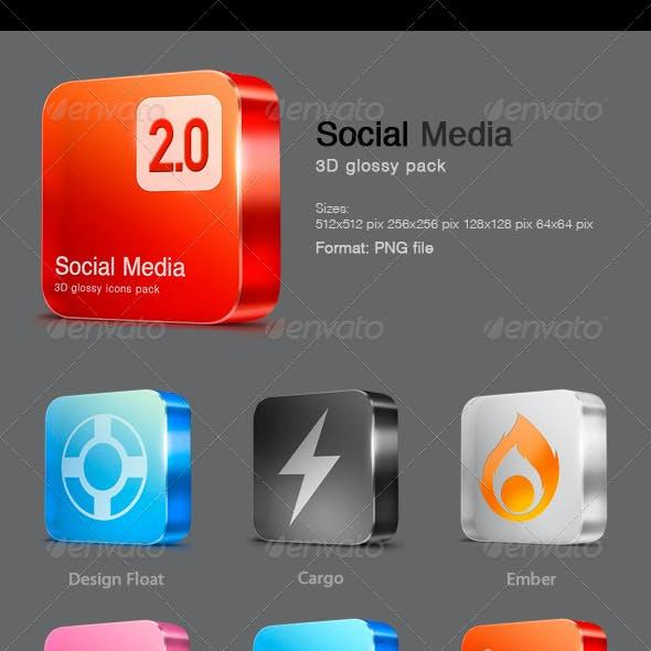 12 Glossy Social Media icons v 2.0