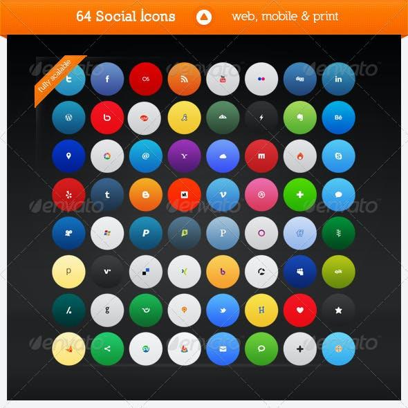 64 Social Media Icons