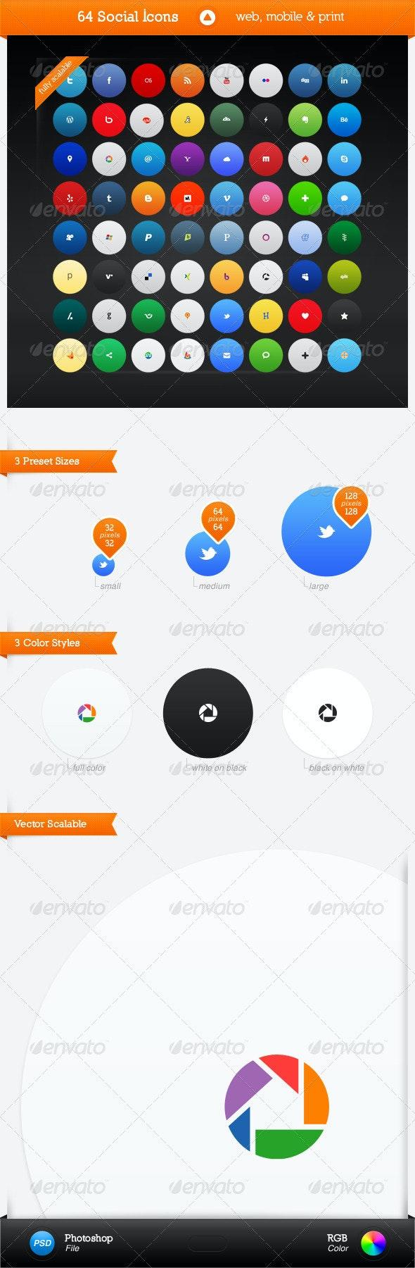 64 Social Media Icons - Web Icons
