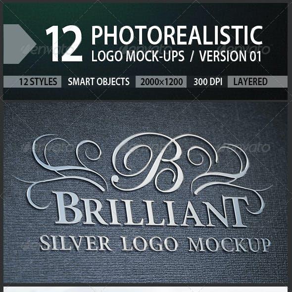 12 Photorealistic Logo Mock-ups / Version 01