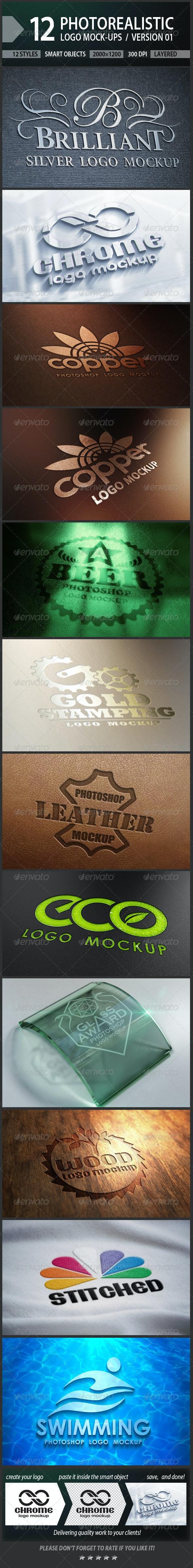12 Photorealistic Logo Mock-ups / Version 01 - Logo Product Mock-Ups