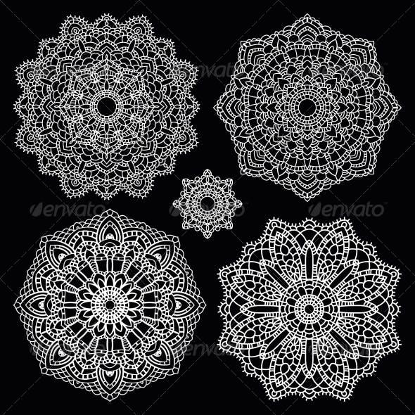 Round Lace Pattern Set Mandala