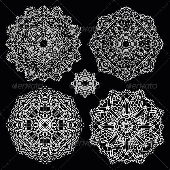 Round Lace Pattern Set Mandala - Backgrounds Decorative