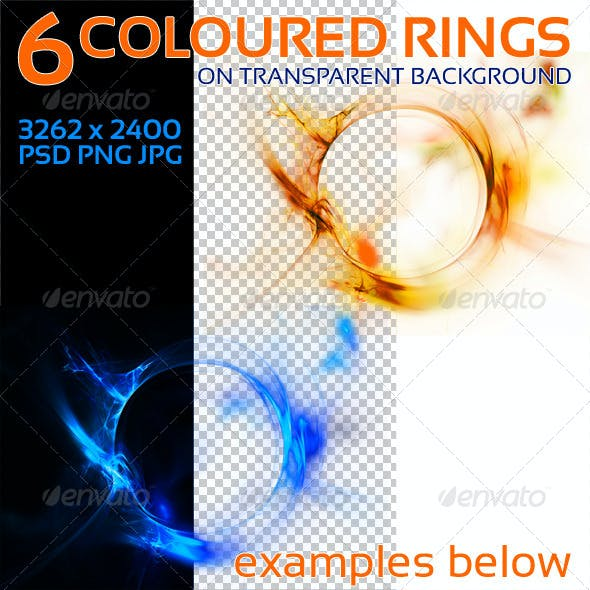 6 Colored Circles on Transparent Background
