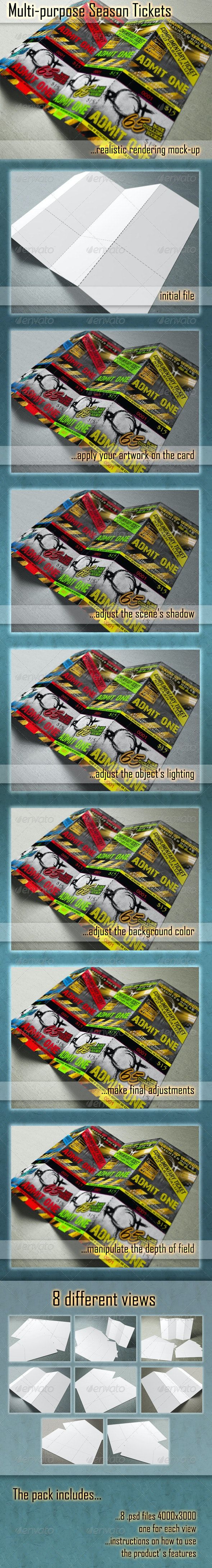 Season Ticket Mockups - Print Product Mock-Ups