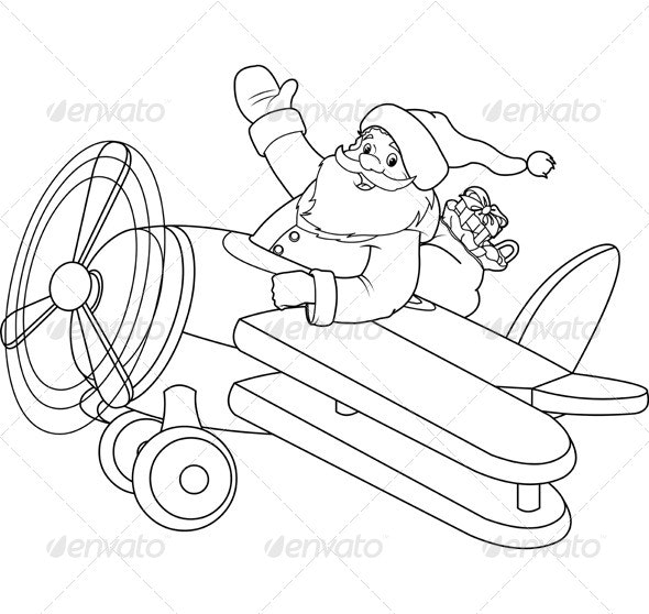 Santa on a Plane Coloring Page - Christmas Seasons/Holidays