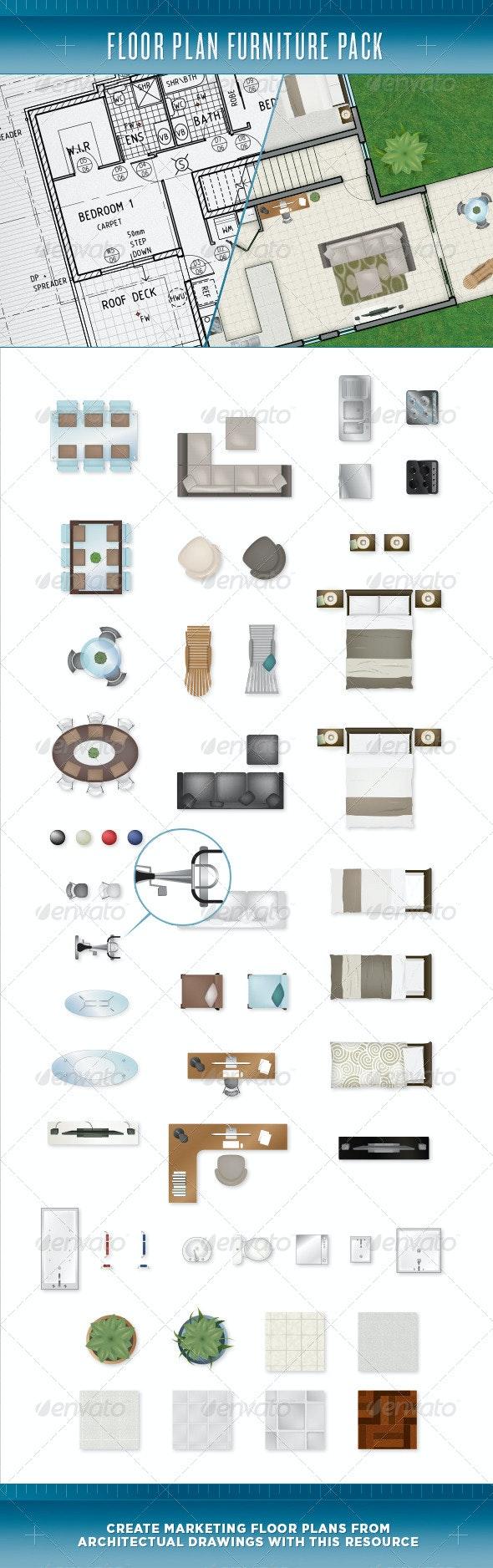 Floor Plan Furniture Pack - Objects Vectors