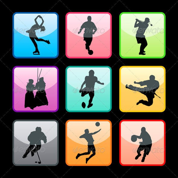 Sport Buttons Silhouettes Set