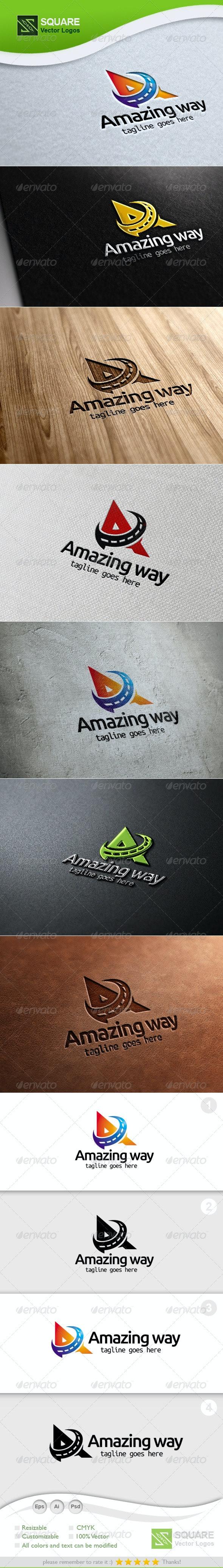 A, Way Vector Logo Template