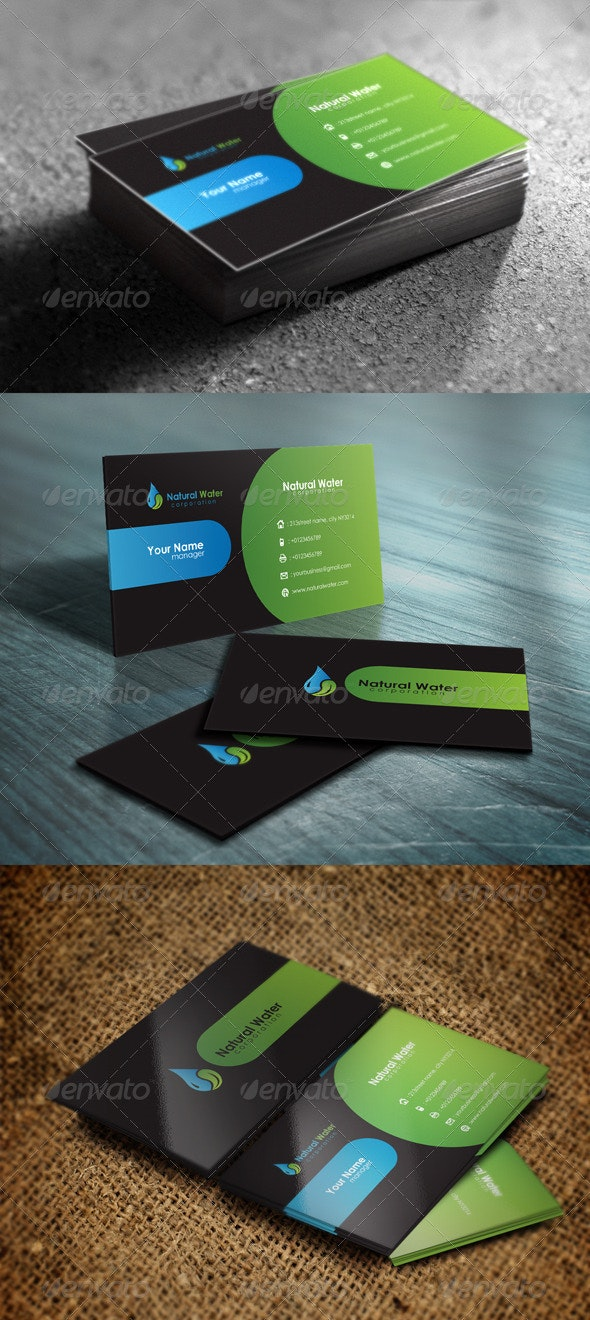 Natural Water Business Card - Corporate Business Cards