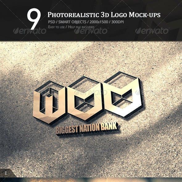 9 Photorealistic 3D Logo Mock-ups