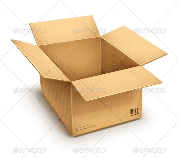 Open Cardboard Box - Man-made Objects Objects