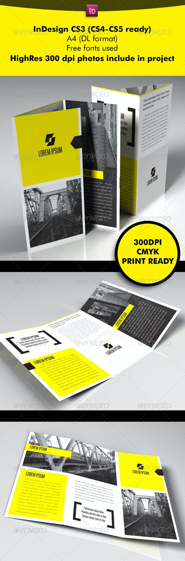 Yellow Square 3-Fold - Brochures Print Templates