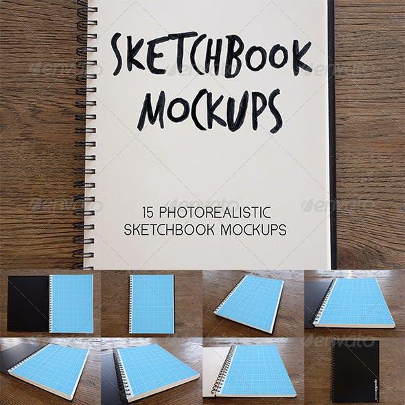15 Photorealistic Sketchbook Mockups