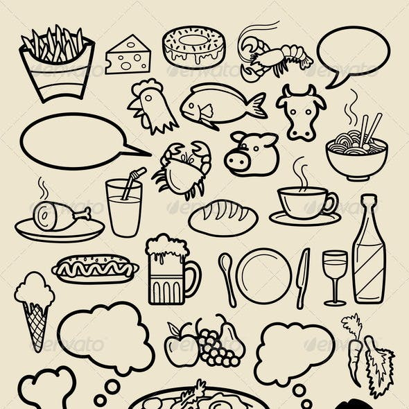 Restaurant Icon Sketches