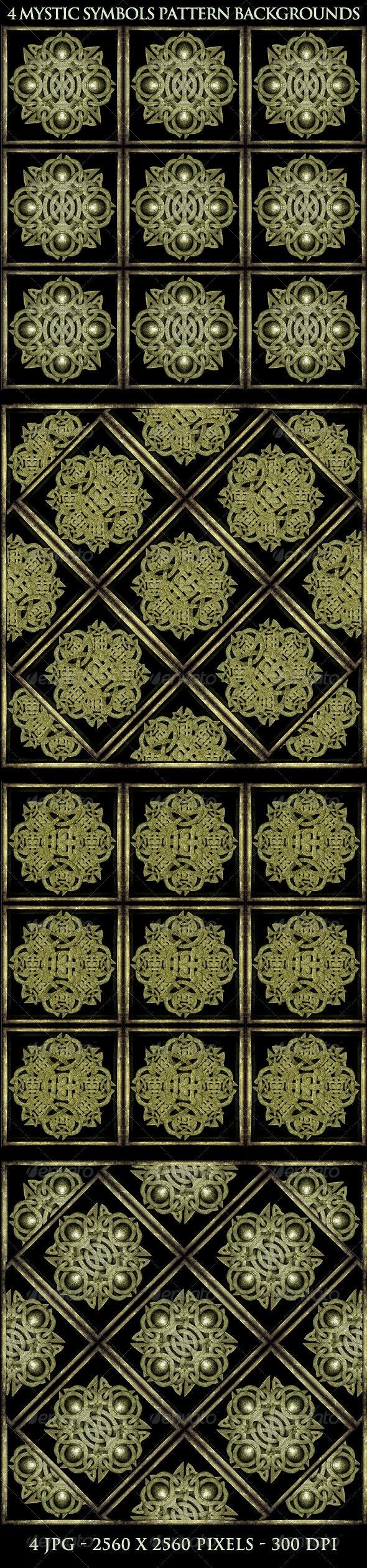 4 Mystic Symbols Background Patterns