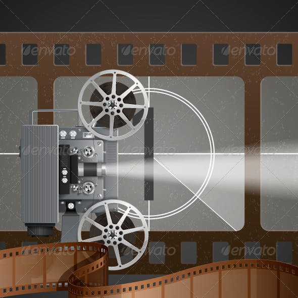 Illustration with Movie Projector