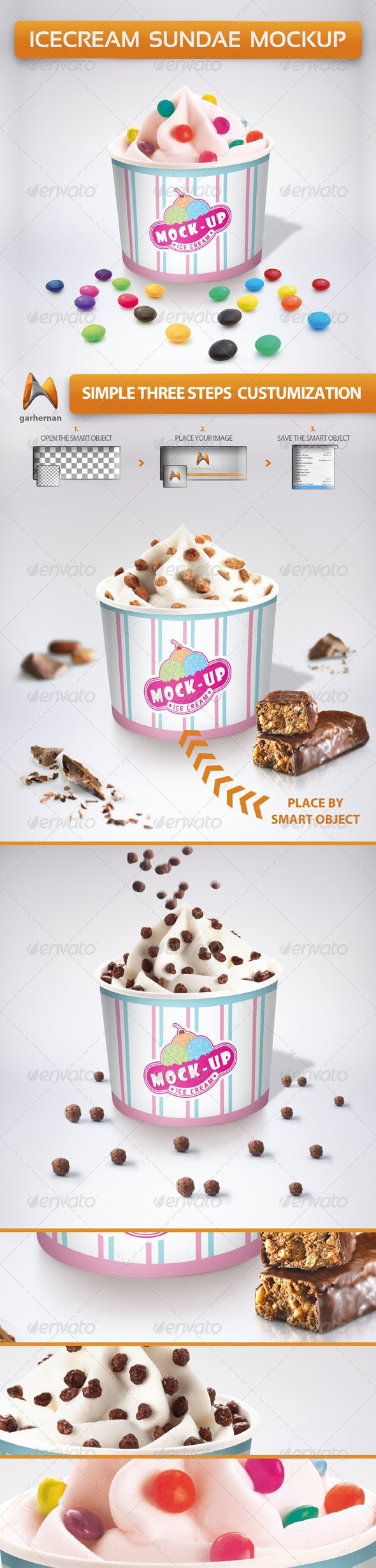 Ice Cream Sundae Mockup - Product Mock-Ups Graphics