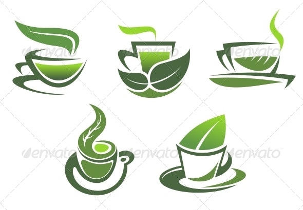 Green Tea Symbols and Emblems - Food Objects