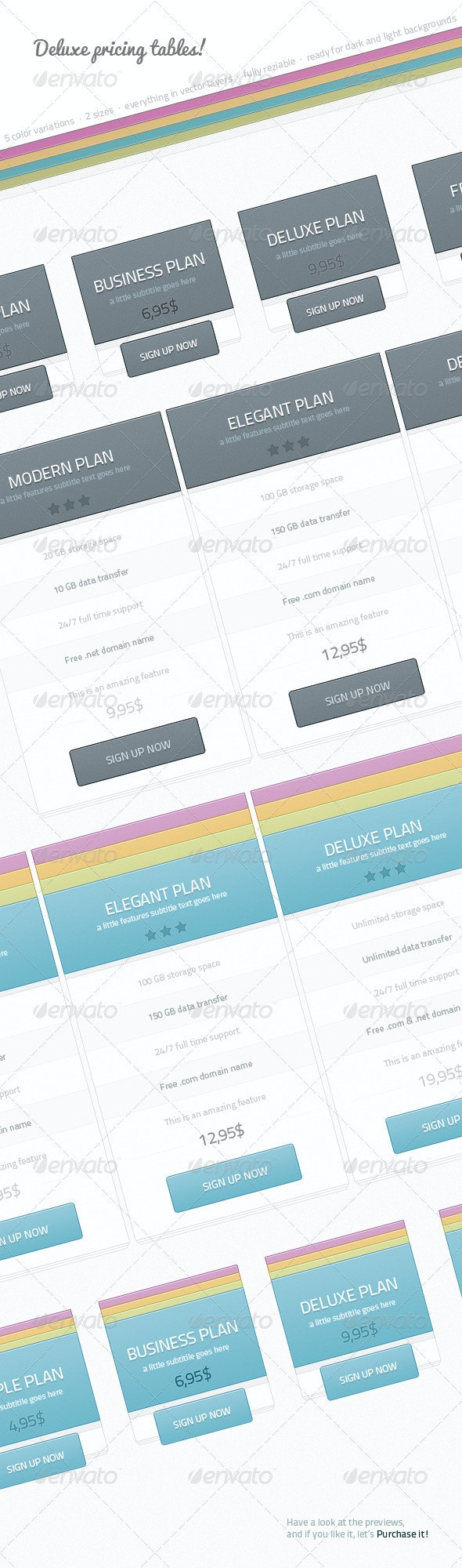Deluxe Multicolor Pricing Tables - Tables Web Elements