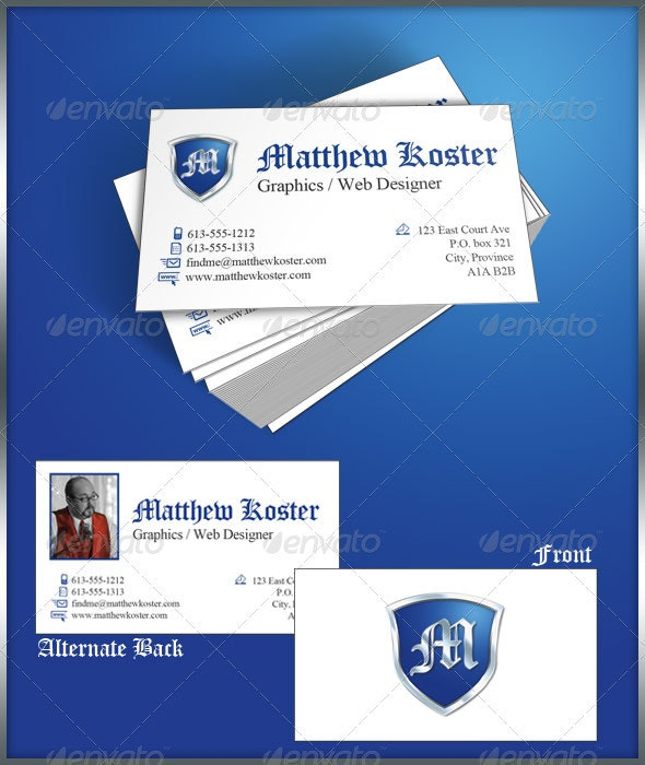 Personal Crest Business Card Template - Corporate Business Cards