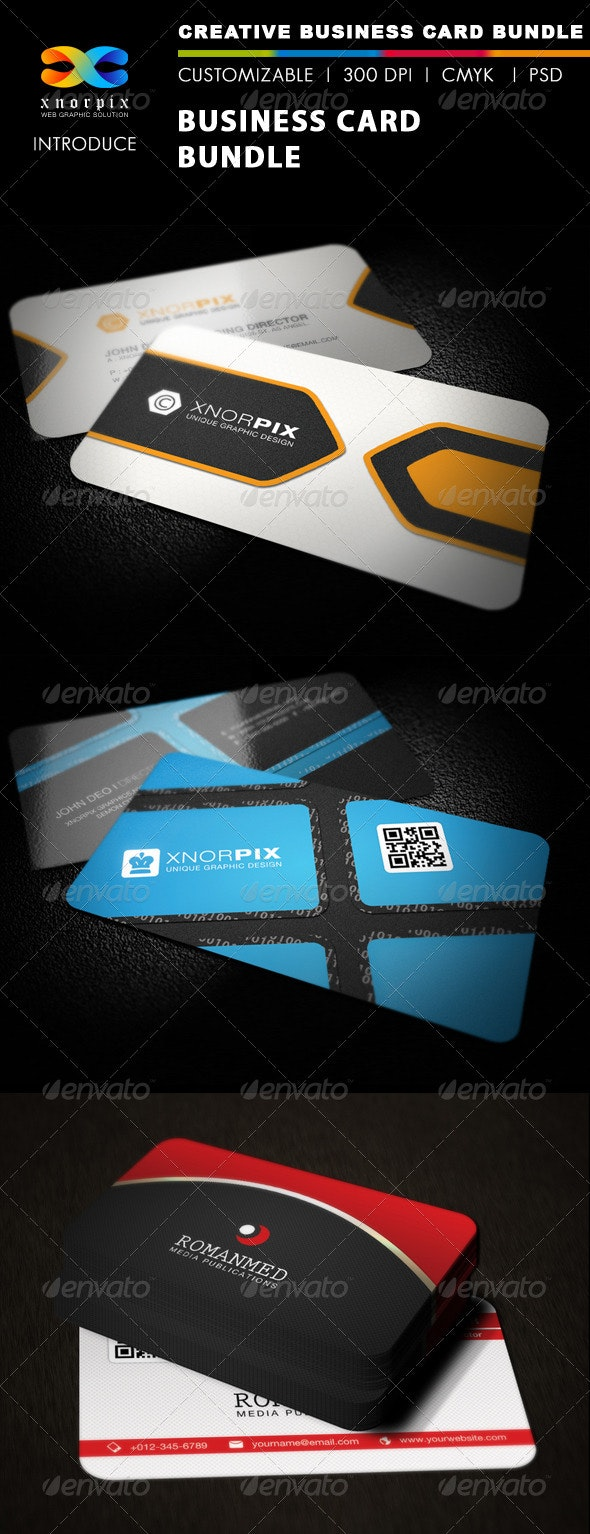 Business Card Bundle 3 in 1-Vol 20 - Corporate Business Cards