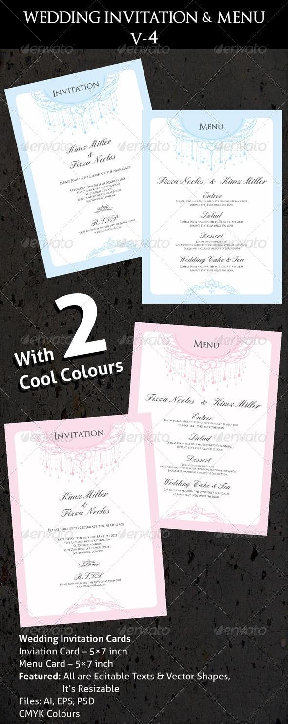 Wedding Invitation & Menu Cards V-4 - Cards & Invites Print Templates