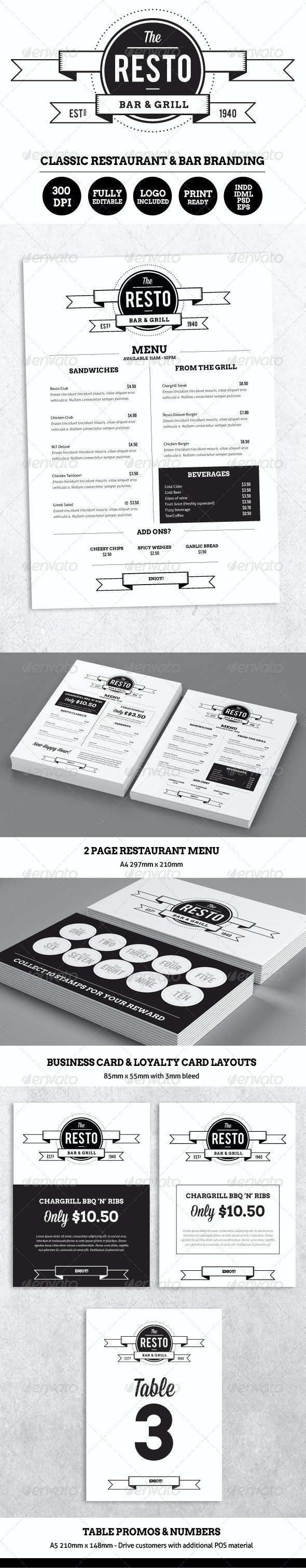 Resto-Bar Menu & Restaurant Branding - Food Menus Print Templates