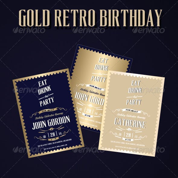 Gold Retro Birthday