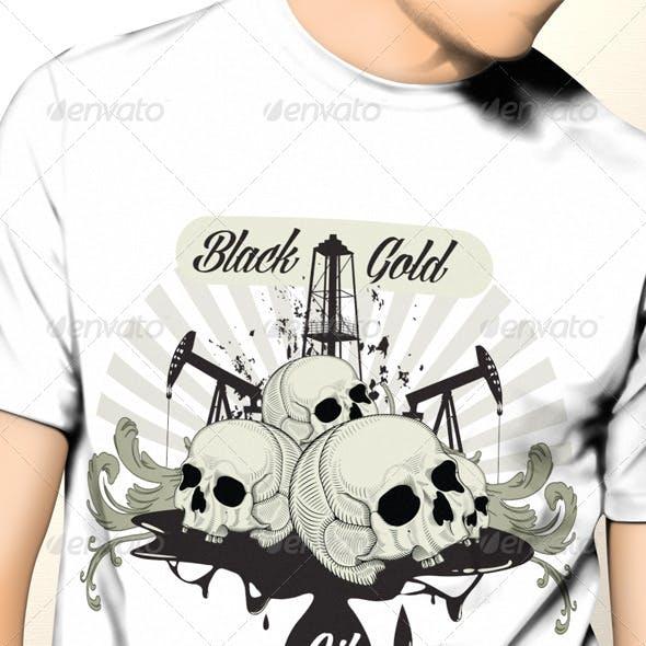 Black Gold Oil T-Shirt Template Design