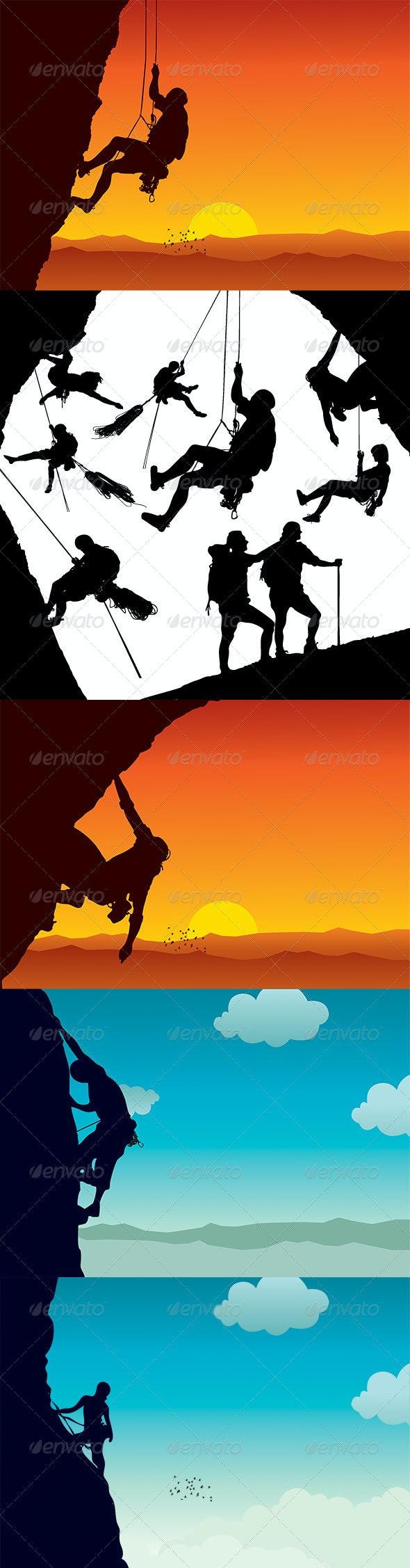 Vector Climber Silhouettes - Sports/Activity Conceptual