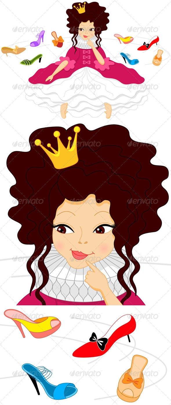 Cartoon Smiling Princess - People Characters