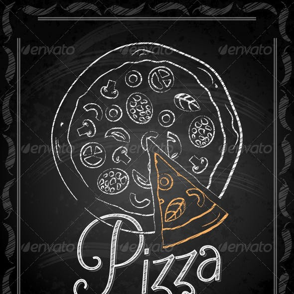 Chalkboard Framed Pizza Menu