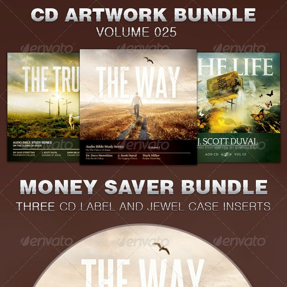 CD Cover Artwork Template Bundle-Vol 025