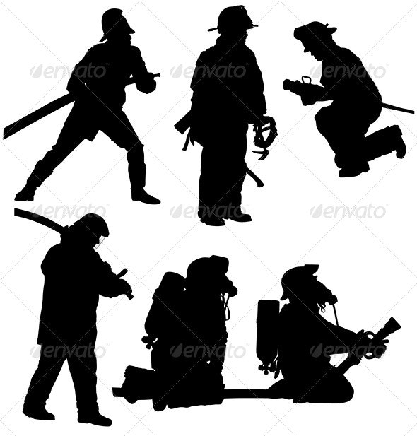 Firefighter Silhouette - People Characters