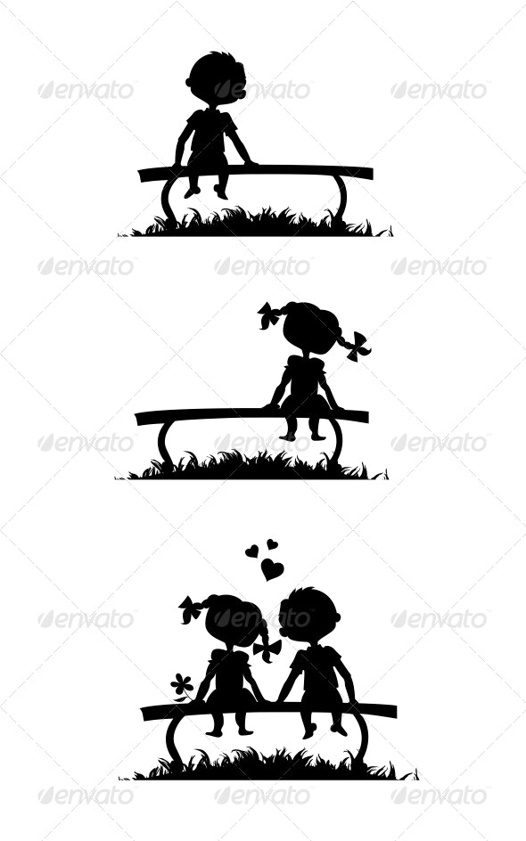 Silhouettes of Boy and Girl Sitting on a Bench - People Characters