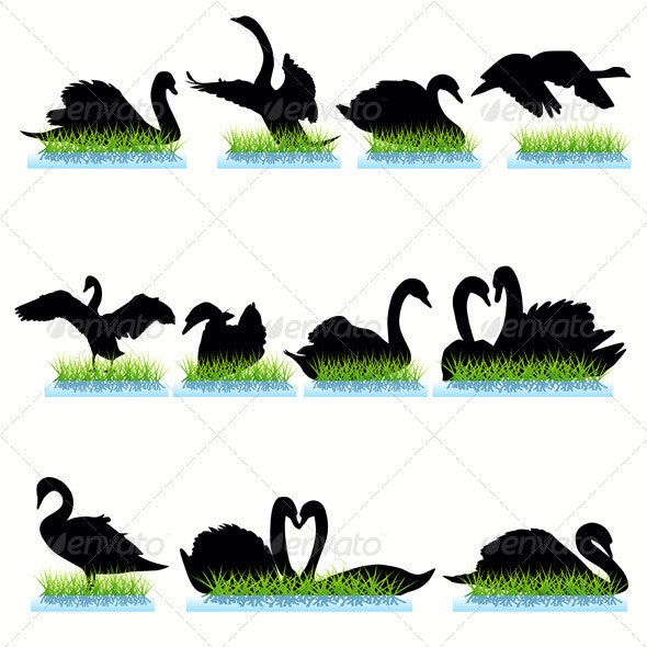 Swans Silhouettes Set - Animals Characters