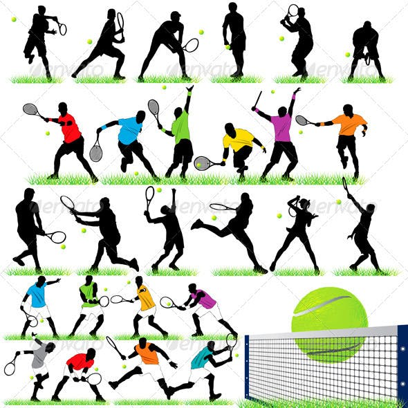 27 Tennis Players Silhouettes Set