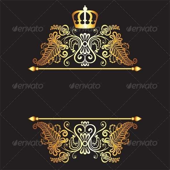 Royal Pattern with Crown on Dark Background - Backgrounds Decorative